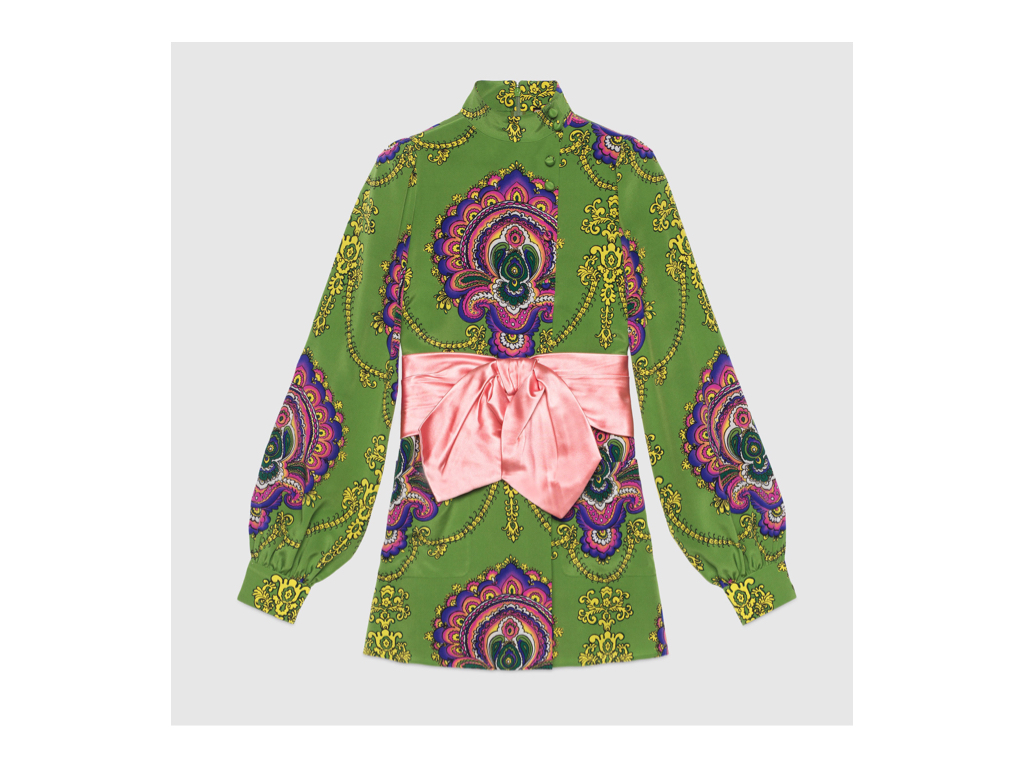 27b2798b Gucci '70s Graphic Print Shirt with Bow, $2,300. This 100% silk,  puff-sleeved top transforms its wearer into a present of sorts with a  removable pink satin ...