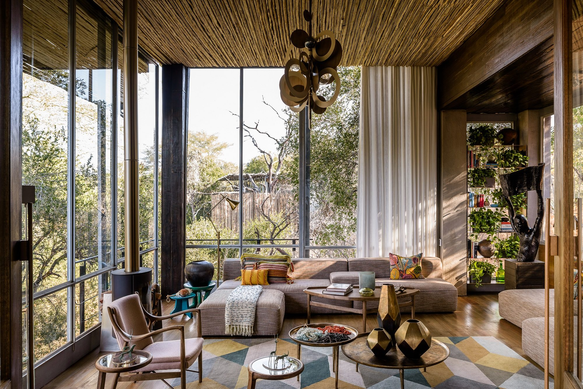 The newly refurbished singita sweni plays with color and texture defying traditional safari décor