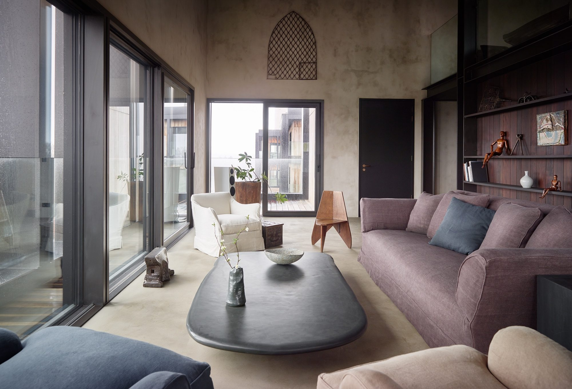 Sitting area with a large sofa from
