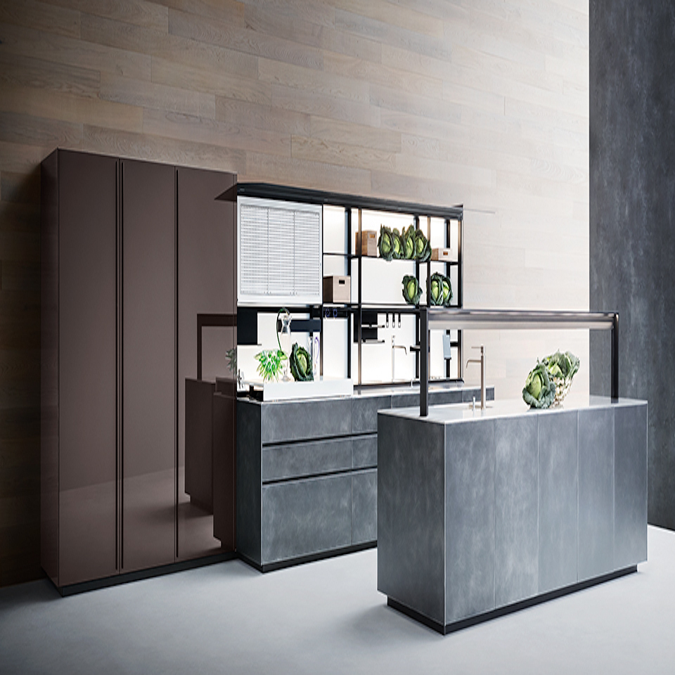 Polished Cocoa Hued Glass, Lacquered Steel, And Black Aluminum Comprise  This Wonderfully Warm And Open Artematica Kitchen From Valcucine.