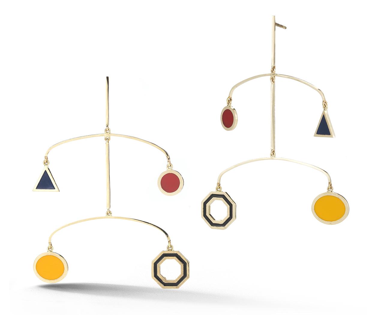 Mateo New York 14 Karat Gold Enamel Mobile Installation Earring 1950 Mateonewyork